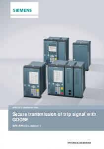 Secure transmission of trip signal with GOOSE