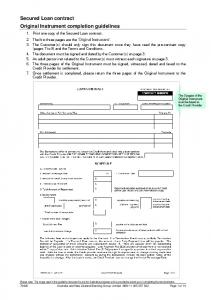 Secured Loan contract Original Instrument completion guidelines
