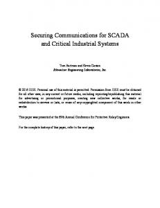 Securing Communications for SCADA and Critical Industrial Systems