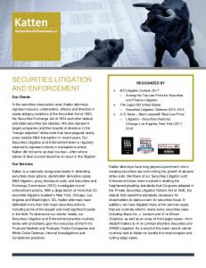 SECURITIES LITIGATION AND ENFORCEMENT