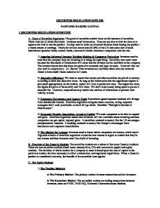 SECURITIES REGULATION OUTLINE PART ONE: RAISING CAPITAL