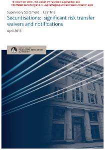 Securitisations: significant risk transfer waivers and notifications
