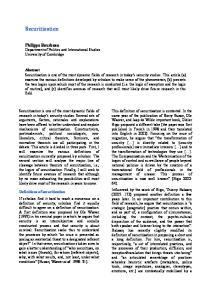 Securitization. Philippe Bourbeau Department of Politics and International Studies University of Cambridge