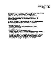 Securitization theory and securitization studies. Rita Taureck