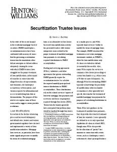 Securitization Trustee Issues