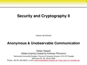 Security and Cryptography II