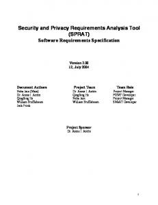Security and Privacy Requirements Analysis Tool (SPRAT) Software Requirements Specification