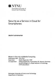 Security as a Service in Cloud for Smartphones