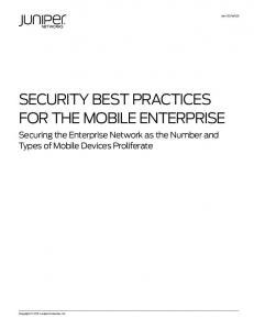 SECURITY BEST PRACTICES FOR THE MOBILE ENTERPRISE