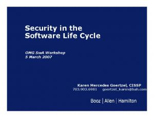 Security in the Software Life Cycle