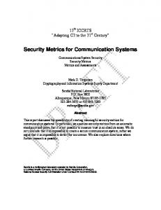 Security Metrics for Communication Systems