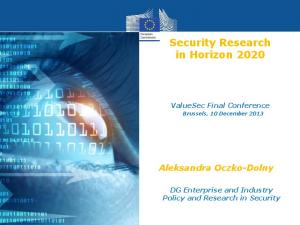 Security Research in Horizon 2020