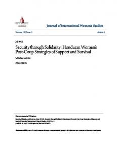 Security through Solidarity: Honduran Women s Post-Coup Strategies of Support and Survival