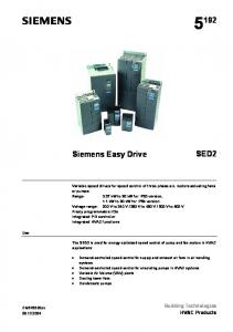 SED2. Siemens Easy Drive. Building Technologies HVAC Products