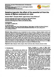 Sedative-hypnotic like effect of the essential oil from the leaves of Myrtus communis on mice