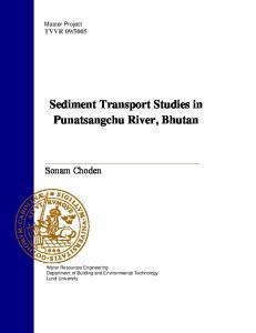 Sediment Transport Studies in Punatsangchu River, Bhutan