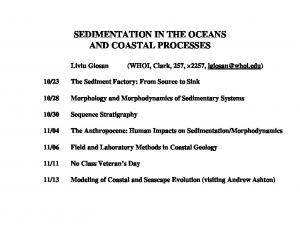 SEDIMENTATION IN THE OCEANS AND COASTAL PROCESSES