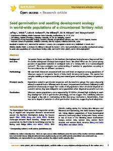 Seed germination and seedling development ecology in world-wide populations of a circumboreal Tertiary relict