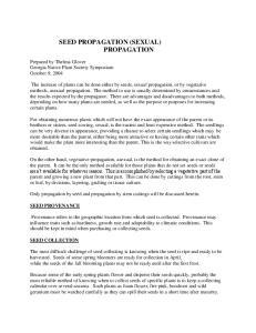 SEED PROPAGATION (SEXUAL) PROPAGATION
