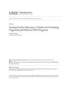 Seeking Further Education: A Rubric for Evaluating Organizational Behavior PhD Programs