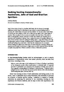 Seeking healing transnationally: Australians, John of God and Brazilian Spiritism