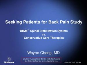 Seeking Patients for Back Pain Study