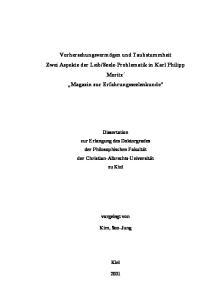 Seele-Problematik in Karl Philipp Moritz Magazin zur Erfahrungsseelenkunde