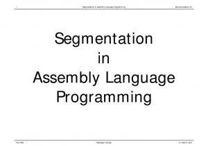 Segmentation in Assembly Language Programming