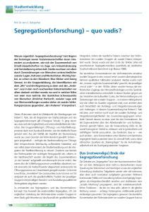 Segregation(sforschung) quo vadis?