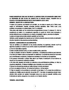 SEGUNDA.- CONDICIONES DE LOS ASPIRANTES