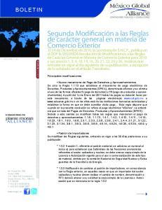 Segunda Modificación a las Reglas de carácter general en materia de Comercio Exterior