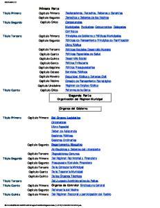 Segunda Parte Organización del Régimen Municipal