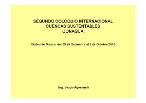 SEGUNDO COLOQUIO INTERNACIONAL CUENCAS SUSTENTABLES CONAGUA