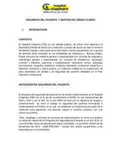 SEGURIDAD DEL PACIENTE Y GESTION DEL RIESGO CLINICO