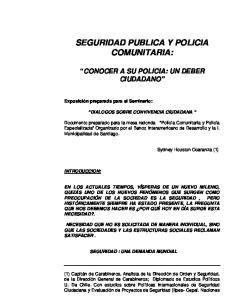 SEGURIDAD PUBLICA Y POLICIA COMUNITARIA:
