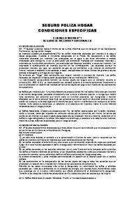 SEGURO POLIZA HOGAR CONDICIONES ESPECIFICAS