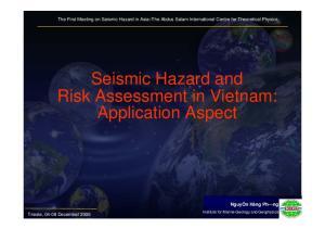 Seismic Hazard and Risk Assessment in Vietnam: Application Aspect