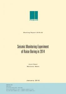 Seismic Monitoring Experiment of Raise Boring in 2014