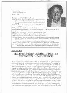 SELBSTBESTIMMUNG BEHINDERTER MENSCHEN IN OSTERREICH