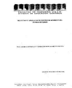 SELECCION Y APLICACION DE EQUIPOS DE BOMBEO PARA FLUIDOS DIVERSOS