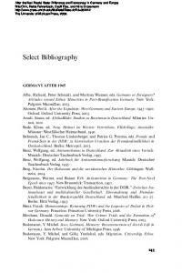 Select Bibliography GERMANY AFTER 1945