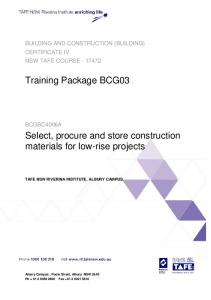 Select, procure and store construction materials for low-rise projects