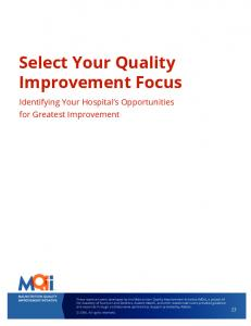 Select Your Quality Improvement Focus