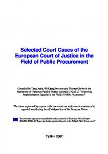 Selected Court Cases of the European Court of Justice in the Field of Public Procurement