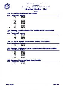 Selected Students List
