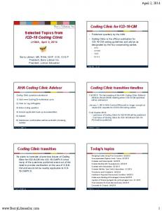 Selected Topics from ICD-10 Coding Clinic
