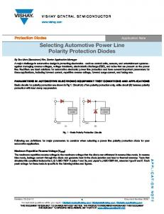 Selecting Automotive Power Line Polarity Protection Diodes