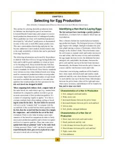 Selecting for Egg Production