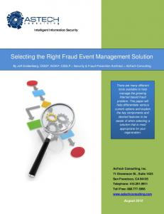 Selecting the Right Fraud Event Management Solution