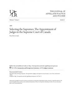 Selecting the Supremes: The Appointment of Judges to the Supreme Court of Canada